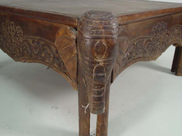 Hand Carved Elephant Coffee Table