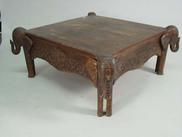 Hand carved elephant coffee table Hand carved coffee table