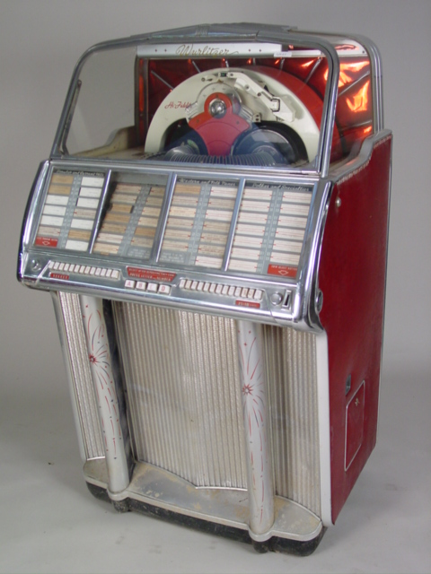 Pictures of 1950s Jukebox http://www.californiauctioneers.com/collectables%20&%20americana/pages/Wurlitzer%201950s%20Jukebox.htm
